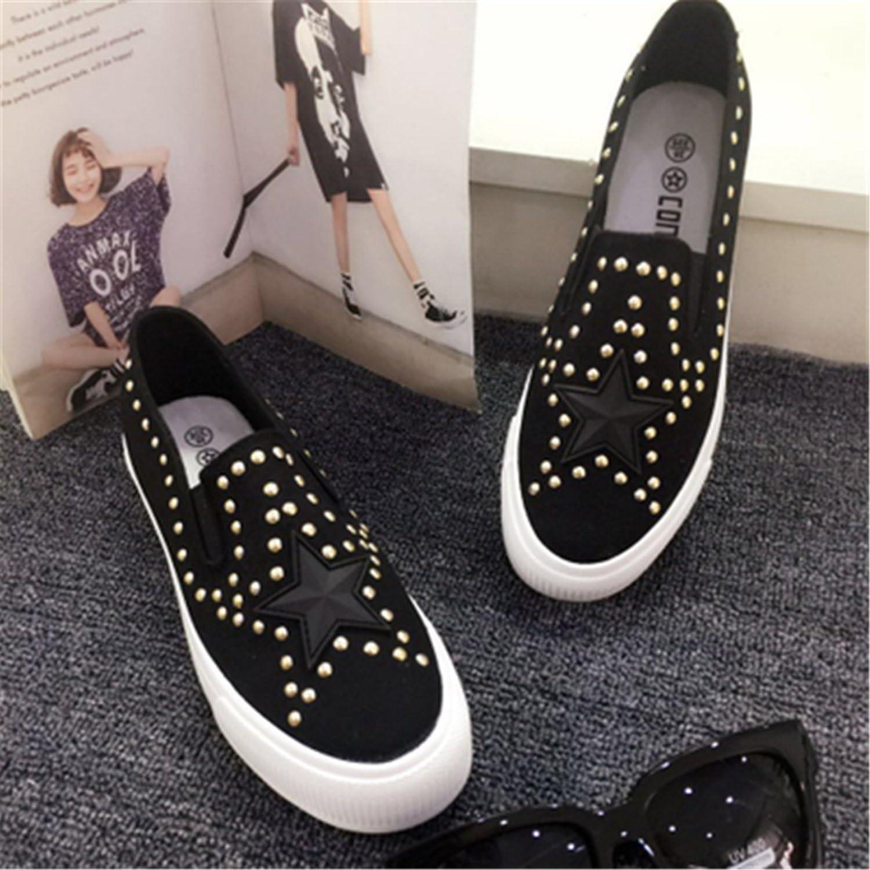 Henraly Women Slip On Loafers shoes Woman Designer Brand Rivets Stars Platform shoes Autumn Women shoes Flats