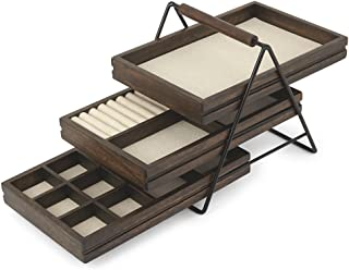 Umbra 1004037-048 Terrace Jewelry Tray – Three-Tier Jewelry Tray With Three Sliding Linen Lined Wood Trays With Metal Fram...