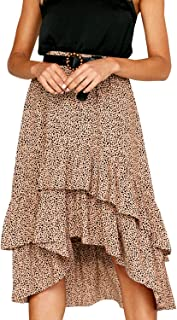 Women's Elegant High Waist Polka Dot Skirt Asymmetrical Layer Ruffle Long Skirt