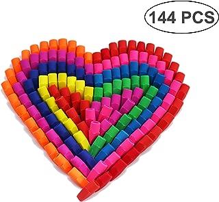 SKKSTATIONERY Erasers Tops Set of 144, Pencil Top Erasers (Mixed Colors), Eraser Caps.