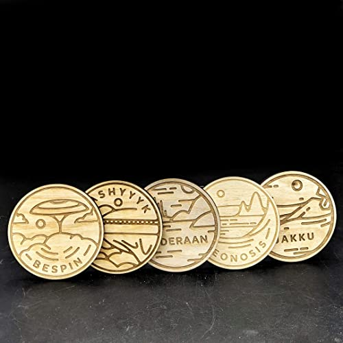 STARWARS Planet Coasters Set #2: BESPIN, GEONOSIS, KASHYYYK, ALDERAAN, JAKKU   Wood Engraved Set of 5