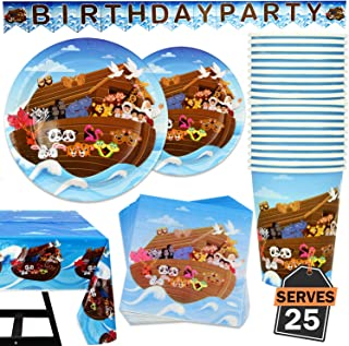 102 Piece Noah's Ark Party Supplies Set Including Banner, Plates, Cups, Napkins, and Tablecloth, Serves 25