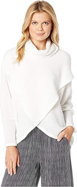 Brushed Overlay Turtleneck Top