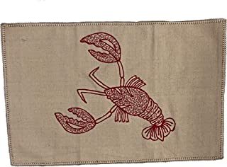 TW Designer Rugs Mat Throw Accent Lobster Seafood Red Decorative Embroidered All Cotton Kitchen Bedroom Beach Cottage Boat Door Entryway Nautical Natural 24 by 36