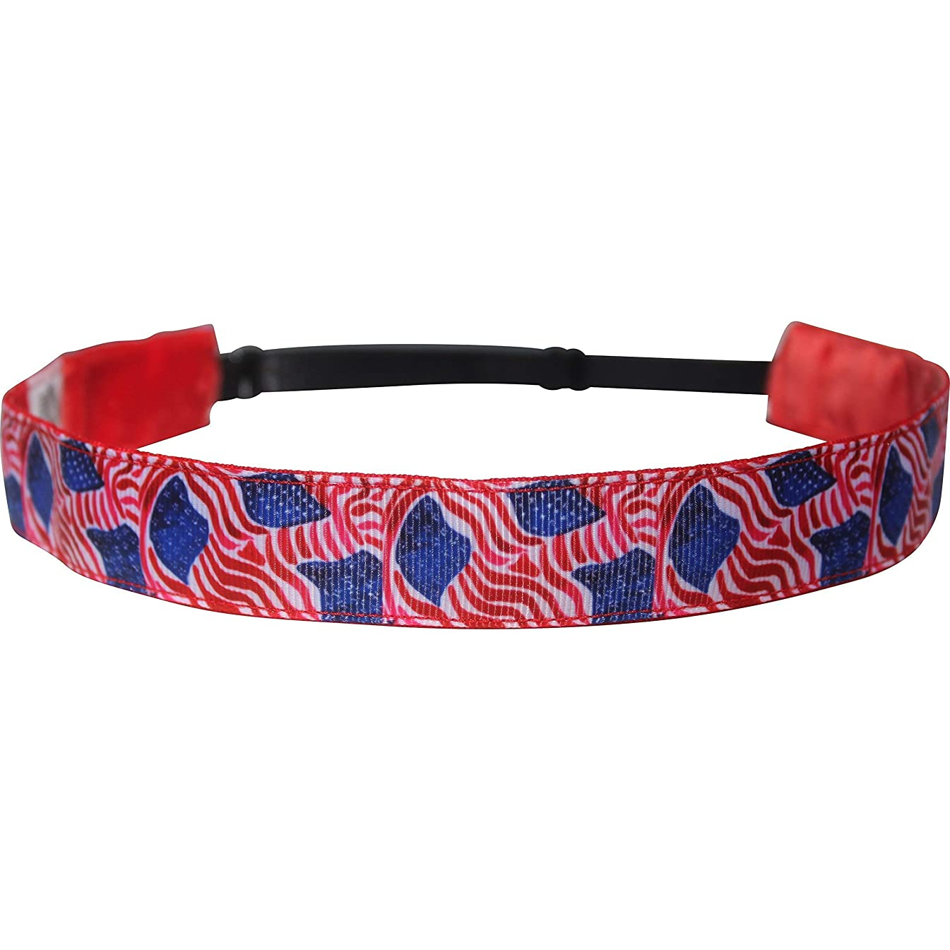 Red White & Blue July 4th Headband Non Slip Adjustable Workout Hairband