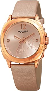 Akribos Xxiv Women's Rose Gold Dial Leather Band Watch - Ak902Pk, Analog Display