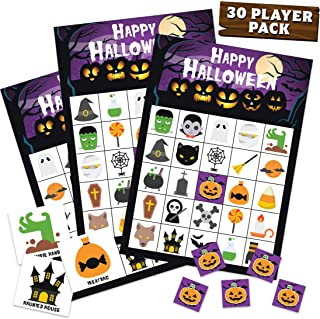 Halloween Bingo Set - 30 Player Cards Pack - Halloween Party Games for Kids, Adults & Family Activity - Halloween Crafts f...