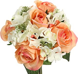 Admired By Nature 9 Stems Artificial Rose Hydrangea Mixed Bouquet, Peach/Cream