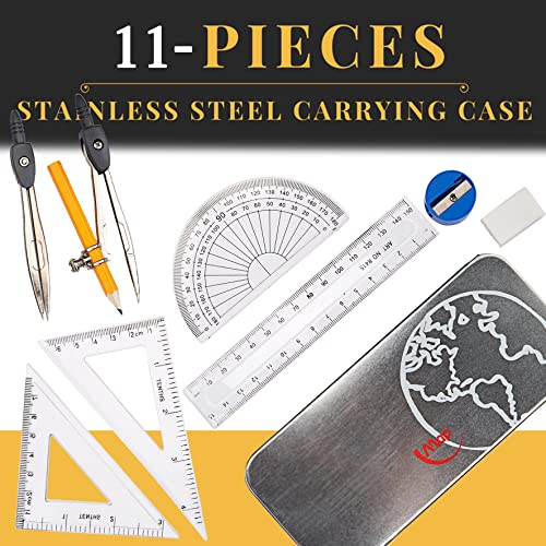 11-Pieces Compass & Geometry Kit Math Set for Students with Stainless Steel Carrying Case