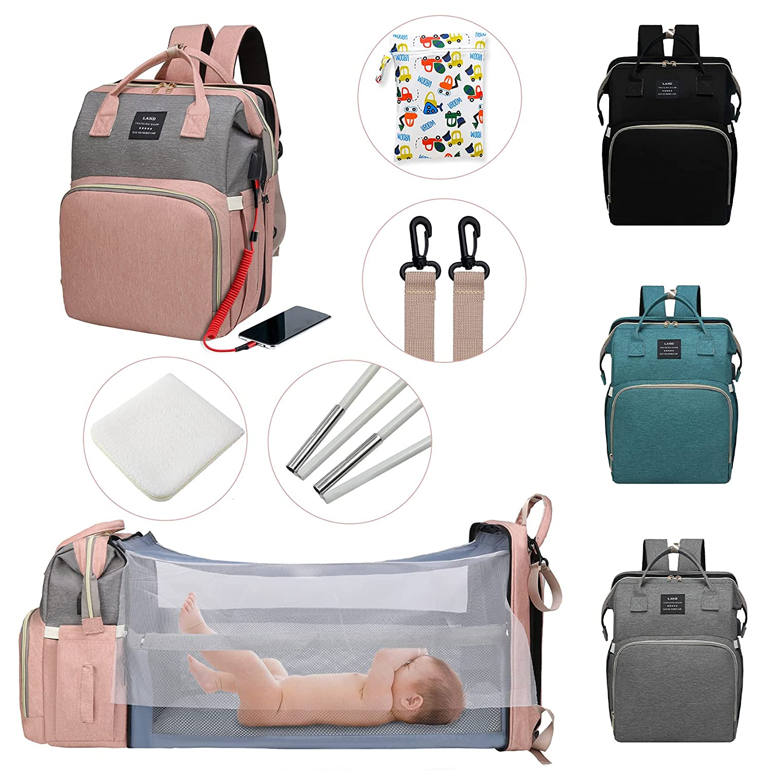Diaper Bag Backpack with Changing Station,7 in 1 Travel Foldable Baby Diaper Bag,Mommy Bag Diaper Bag Changing Station Multi-Function Waterproof with Mattress and USB Charging Port (Pink-Grey)