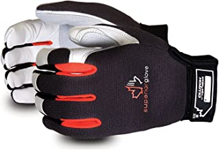Superior Clutch Gear Grain Goatskin Leather Mechanics Gloves with Thumb Patch - MXGCE - (1 Pair of Large Work Gloves)