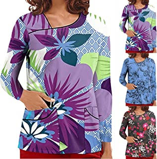 YOYHX Women's_Scrub_Top Women Halloween V Neck Long Sleeve Print Working Uniform Tops T Shirt with Pockets