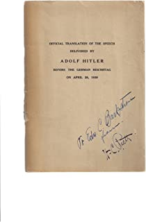 Official translation of the speech delivered by Adolf Hitler before the German Reichstag on April 28, 1939