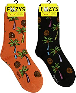 Foozys Women's Crew Socks | Tropical Island Oasis Themed Novelty Socks | 2 Pair