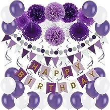 Violet//Rose Banderole danniversaire Unique Party 2,7 m Happy Birthday 49487