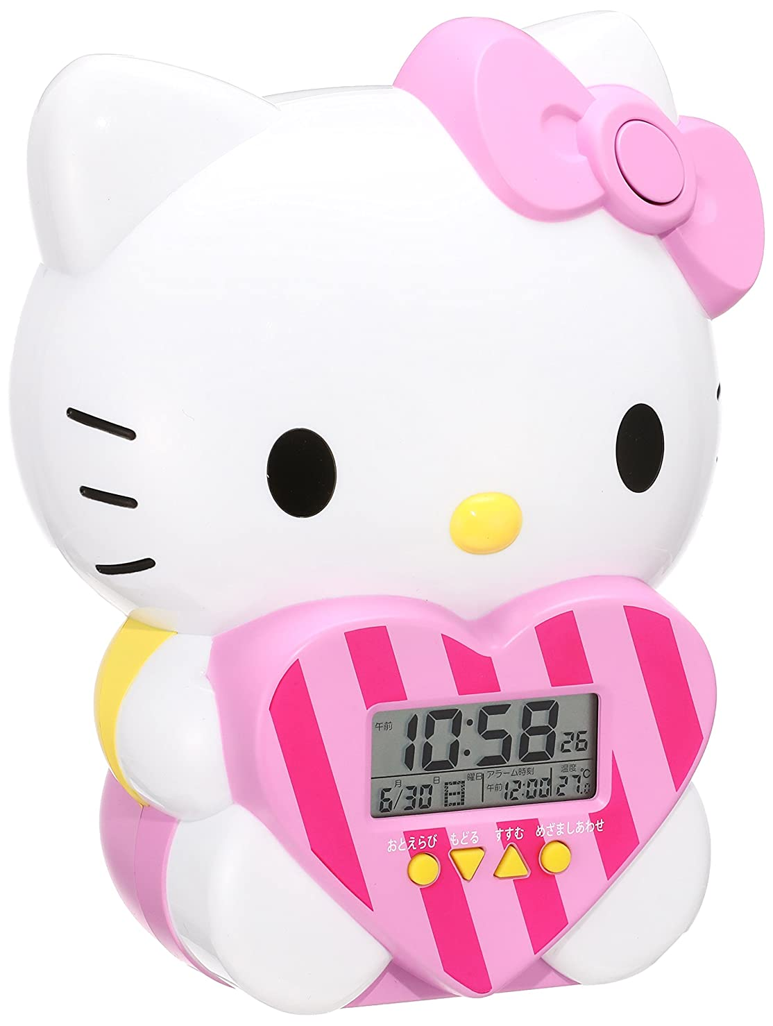 先生ハッチながらセイコー クロック 目覚まし時計 ハローキティ キャラクター型 おしゃべり アラーム デジタル 温度 表示 JF375A SEIKO