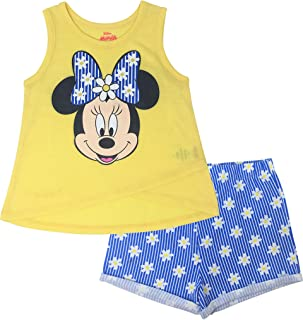 Disney Minnie Mouse Toddler Girls' High-Low Tank Top & Twill Shorts Set (Yellow, 4T)