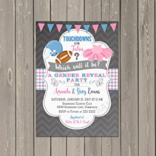 Touchdowns or Tutus Gender Reveal Invitation, Football or Ballet Gender Reveal Shower Invitation in Pink and Blue, Set of 10 invitations with white envelopes