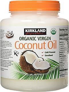 Kirkland Signature Cold Pressed Unrefined Organic Virgin Coconut Oil, 84 Ounce, 2 Pack