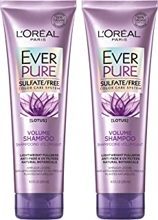 L'Oreal Paris Hair Care EverPure Sulfate Free Volume Shampoo for Color-Treated Hair, Lightweight for Fine Hair, Paraben Free & Vegan, 8.5 fl. oz, (Pack of 2)
