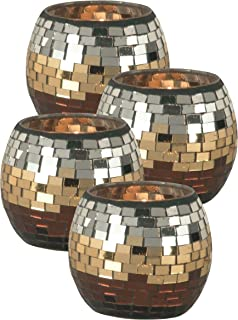 Springdale Chalet Mosaic Art Glass Candle Holders, 4-Piece, Copper/Gold/Silver