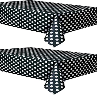 Polka Dot Plastic Tablecloth, Black with White Dots (2 Pack)