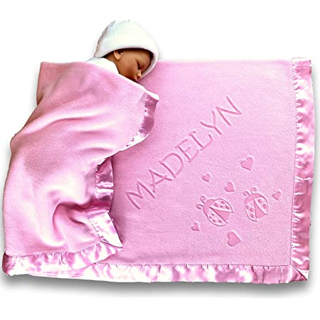 Custom Catch Personalized Girl Pink Baby Blanket Gift with Flower, Ladybug, Bee or Butterfly