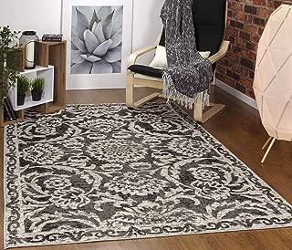 Antep Rugs Kashan King Collection Floral Polypropylene Indoor Area Rug (Grey/Black, 8' x 10')