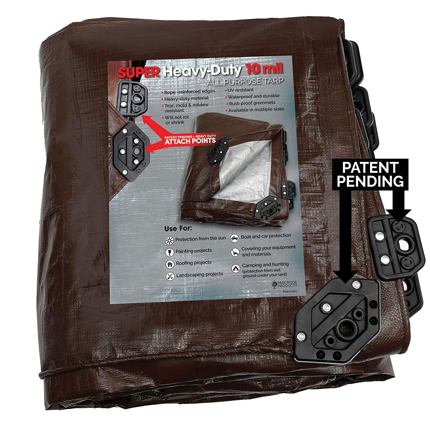 Park Ridge Products SCTRP1020 10 x 20 ft Heavy-Duty Brown/Silver Reversible Poly 10 mil Tarp Super Corner,