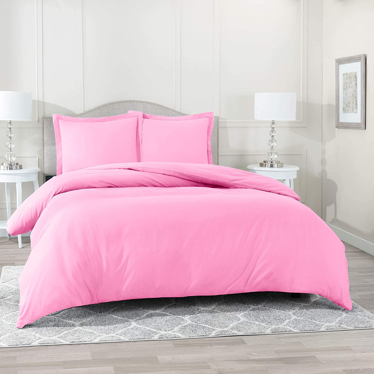 "Nestl Bedding Duvet Cover 3 Piece Set – Ultra Soft Double Brushed Microfiber Hotel Collection – Comforter Cover with Button Closure and 2 Pillow Shams, Light Pink - Queen 90""x90"""