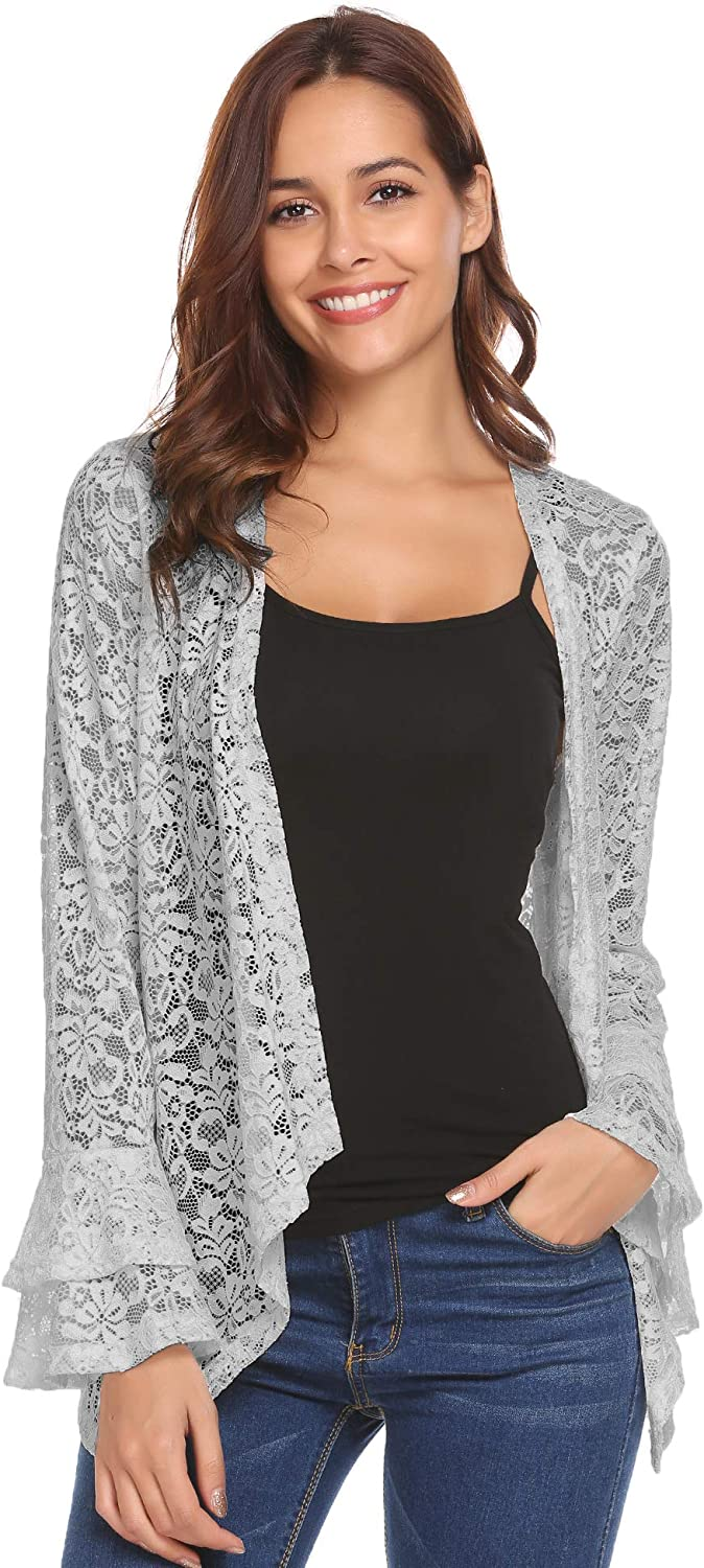 Concep Women's Bell Sleeve Cardigan Lace Crochet Casual Tops Sheer Cover Up Plus Size