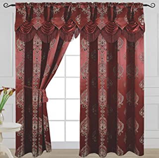 Venice Collections Luxury Jacquard Curtain Panel Attached Waterfall Valance, 54 84-Inch Alexa Burgundy