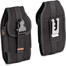 AGOZ Carrying Case for Sonim XP8 XP8800, Sonim XP7 XP7700, Heavy Duty Rugged Canvas Vertical Holster Pouch Cover with Metal Clip, Belt Loops, Card Slot and Front Buckle Clip