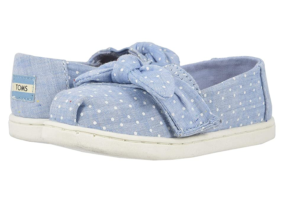 TOMS Kids Alpargata (Toddler/Little Kid) (Light Bliss Blue Speckled Chambray Dots/Bow) Girl