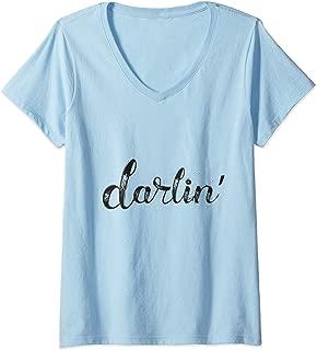 Womens Women Darlin Text Gift Beautiful Saying Word Design Darling V-Neck T-Shirt