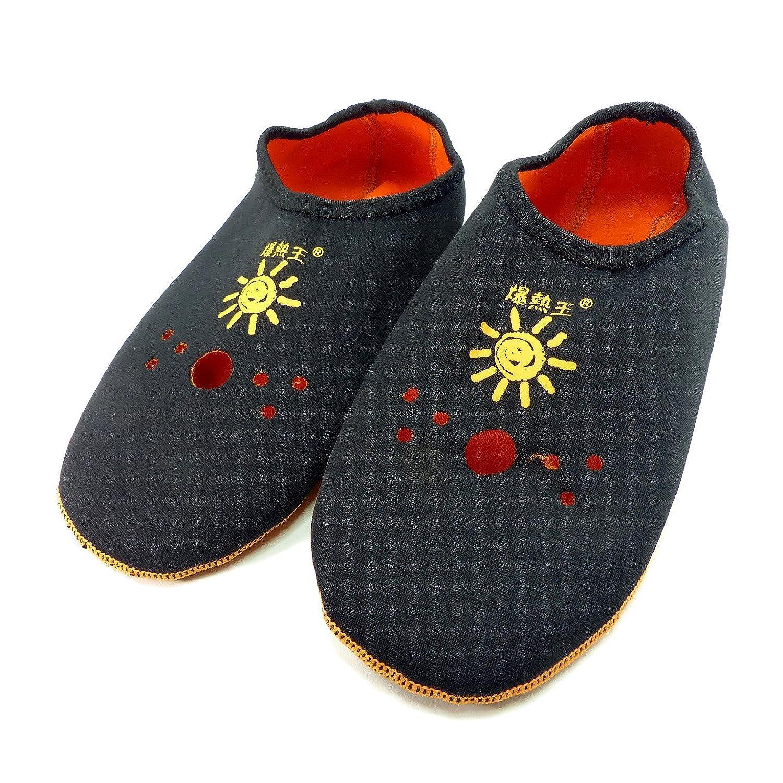 発熱ソックス 爆熱王靴下 ウェットスーツ風素材のあったか靴下 オレンジ黒リバーシブル Sサイズ SC-269 インナーソックス ルームソックス 発熱靴下