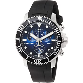Tissot Men's Seastar 660/1000 Stainless Steel Swiss Quartz Rubber Strap, Black, 22 Casual Watch (Model: T1204171704100)