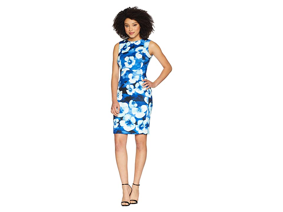Calvin Klein Floral Printed Sheath Dress CD8M25LM (Regatta Multi) Women