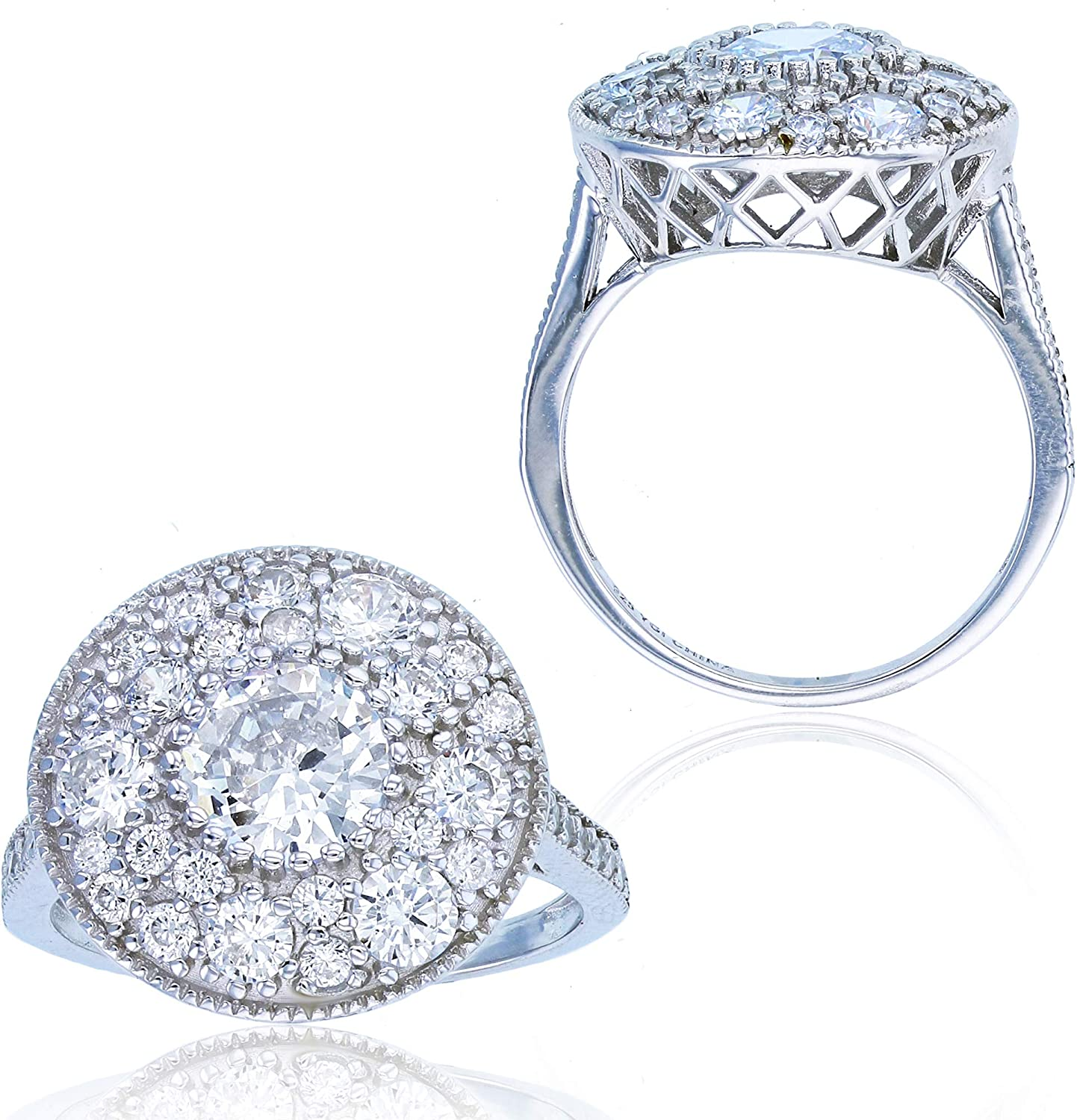 Sterling Silver Rhodium Paved Shipping included Cubic Zirconia Milgrain Circle Popular brand Fas