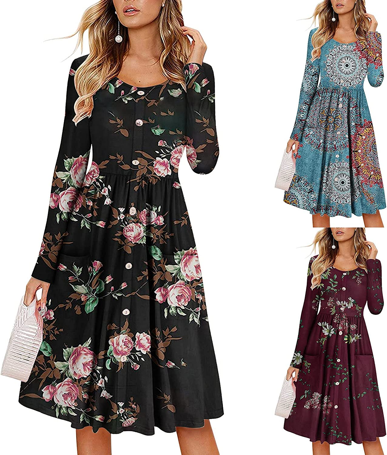 Womens Dresses Casual Long Sleeve Sundress Floral Graphic Print Cocktail Dress O Neck Midi Skirt Pleated Swing Gowns