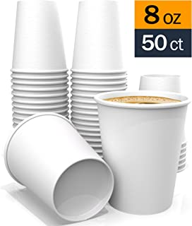 8 oz – White Coffee Paper Cups for Tea Water and Cocoa 50 ct