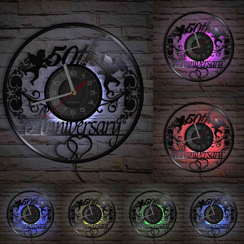 Wwbqcl 50 ° Aniversario Vinilo LP Registro Reloj de Pared ángeles Corona Retro 50 años de Matrimonio Regalo de Boda álbum de música Reloj decoración del hogar con led