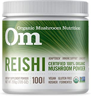 Om Organic Mushroom Nutrition Supplement Reishi: Adaptogen, Immune Support, Longevity, 100 servings, 7.14 Ounce, 200 Gram