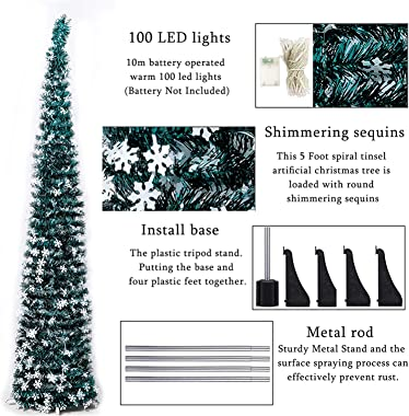 B.H 5FT Pop Up Artificial Christmas Tree with Lights, Collapsible Pencil Fake Christmas Tree for Christmas Decoration