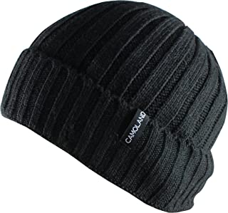Men's Fleece Wool Cable Knit Winter Beanie Hat
