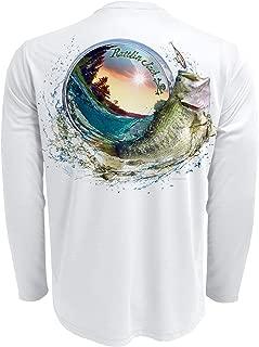 Rattlin Jack Mens UPF 50 Large Mouth Bass Fishing Shirt Long Sleeve