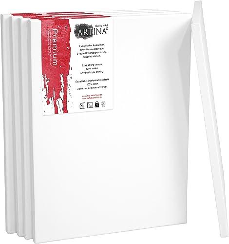 buena reputación Artina Artina Artina Premium - Set de 5 Piezas - 60x100 cm - Lienzos blancos para Pintar - con Bastidor 380g m2  directo de fábrica