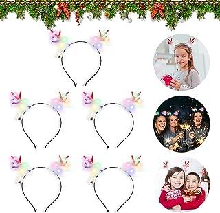 KATELUO 5 st julpannband, LED-hornpannband, renhorn horn, jul hårring LED, LED festlig födelsedagsfest glödande huvudbonad...