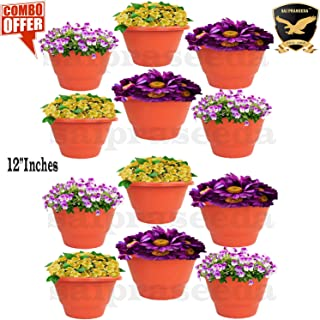 SAI PRASEEDA 12'' Inches Plant pots & Flower Baskets for Garden and Balcony (Pack of 12`s) Terracotta Color