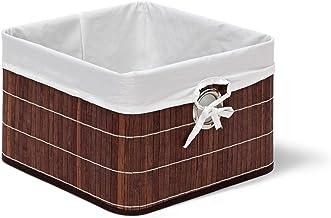 Relaxdays Kosz do przechowywania, obicie materiałowe, bambus, prostokątny, łazienka, akcesoria, zabawki, wys. x szer. x g...